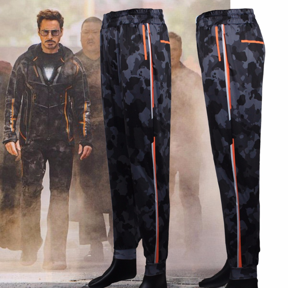 Iron Man Mens Pants Avengers Infinity War Tony Stark Cosplay Drawstring Full Length Pants Trousers Costumes New 2018