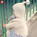Niñas Cardigan de Algodón Con Capucha Suéter de Los Niños Suéter de Las Muchachas Niños Largos de La Manga Niños Usan Ropa de Punto Con Tassle 1-5Y