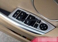 Left hand drive ! Chrome Door panel window adjust button cover trim 4pcs For BMW 5GT f07 2015 2011