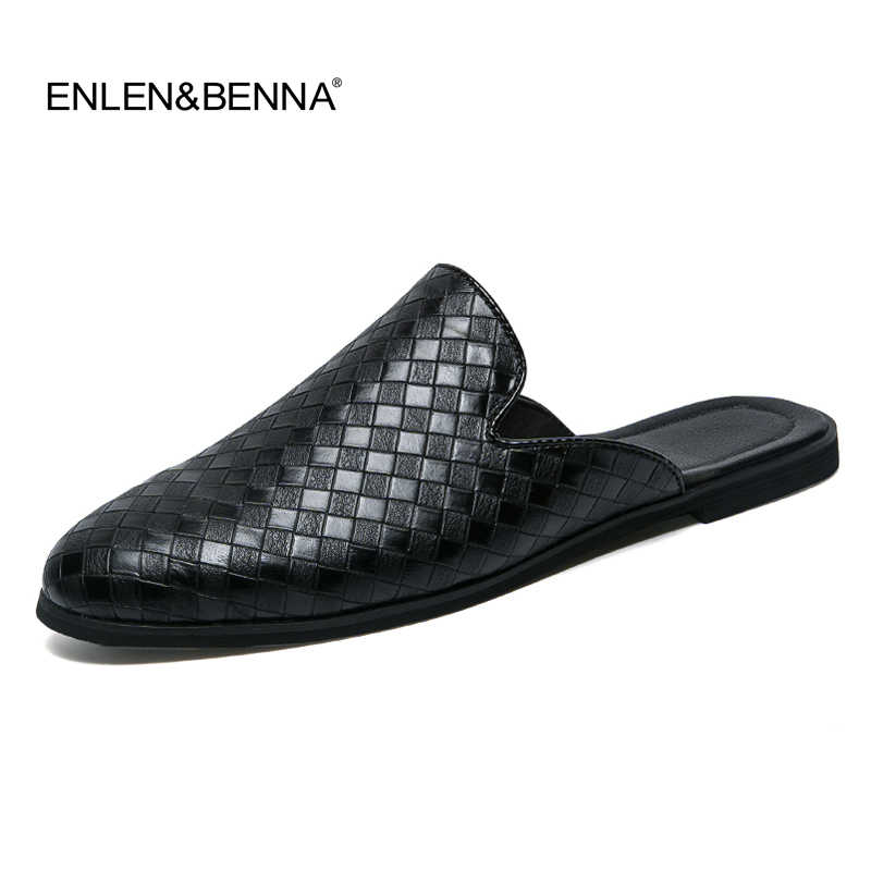 338a00e8bee1 Men Sandals 2018 New summer half slippers men shoes PU Leather beach sandals  causal lazy slip
