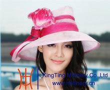 New Women's 2015 Summer Kentucky Derby Wedding Dress Wide Brim Sinamay Floppy Ribbon Flowers Hat Red Pink Free Shipping