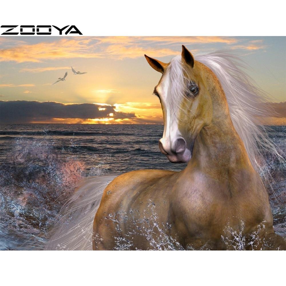 ZOOYA 5D DIY Diamond Painting Cross-Stitch Kits Diamond Embroidery Rhinestone Painting Horse Sea Sunset Mosaic Pictures R1229