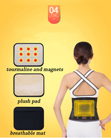 Adjustable Tourmaline Lower Back Waist Support Brace Self heating Magnetic Therapy Double Banded Waist Belt Lumbar Support H01