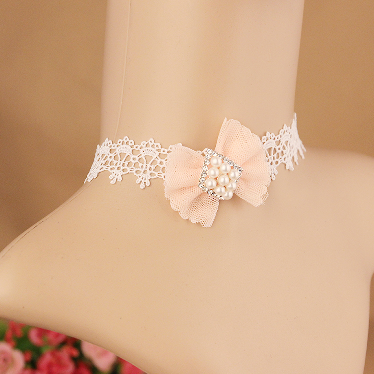 Fashion jewelry White hollow lace cloth tattoo choker Pink Bowknot Wit Imitation Pearl Strand necklace gift for women girl