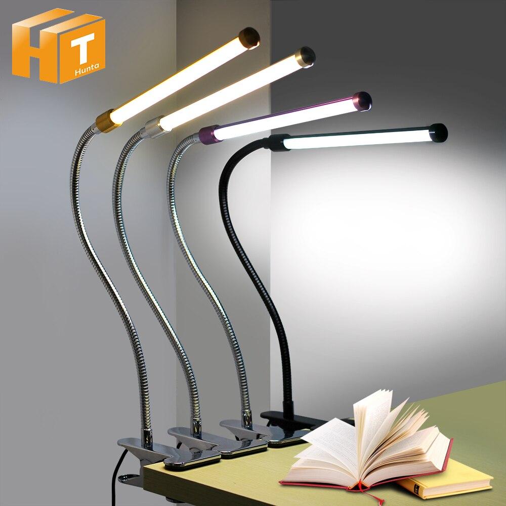 LIDERADA Lâmpada de Mesa com Clipe Flexível Candeeiros de Leitura Proteção para Os Olhos de Luz Branca + Luz Quente Escritório Quarto Estudo Luz de Trabalho.