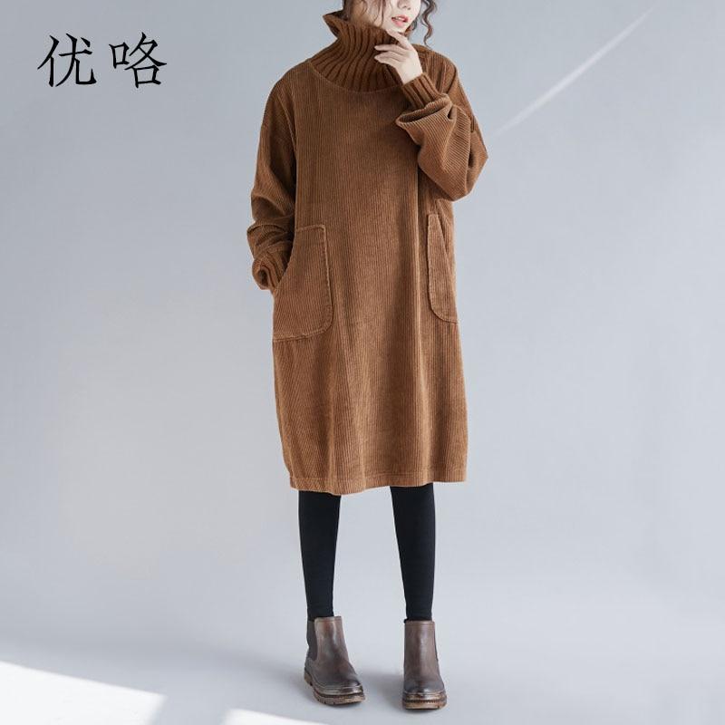 Plus la Taille En Velours Côtelé Robe Pour Femmes 3XL 4XL 5XL Vintage Tricot Longue Robe Col Haut Lâche Occasionnel Épaississent Chaud Robes 2018