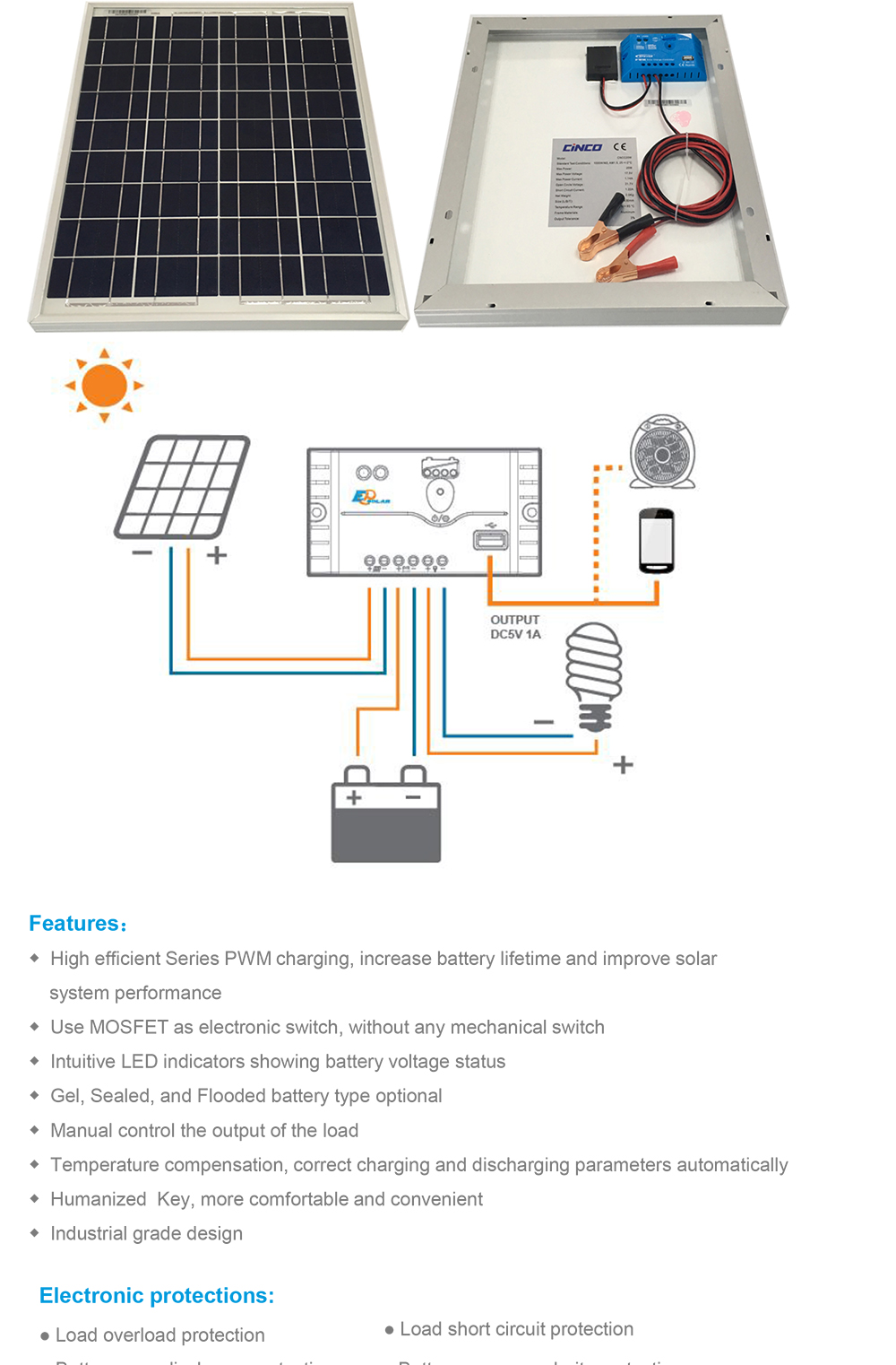 20w Solar Power System With Poly Panel And 12v 5a Pwm Circuit Showing How A Charging Battery Can Be Used As Ls Eu 1