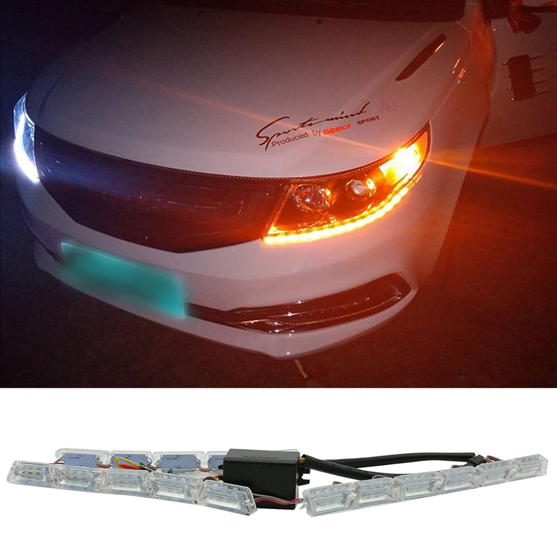 For Ford Focus 2 3 Fusion Fiesta <font><b>GT</b></font> <font><b>Mustang</b></font> Explorer LED Car Flexible Dual Color DRL Turn Signal Light Daytime Running Lights image