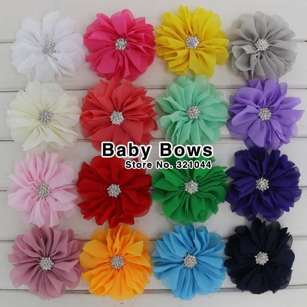 Babymatch 40pcslot 32 Chiffon Artificial Flower Silk Hair