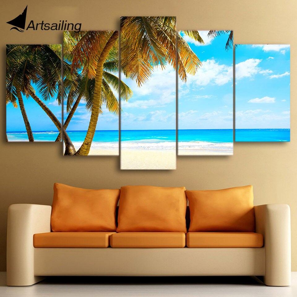 ①5 unidades lona imprimió las palmas tropicales de la playa del ...