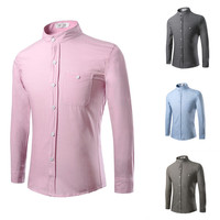2017 Spring Oxford Pure Color Men Shirts Long Sleeve Mens Casual Collar Shirt Slim Men Dress