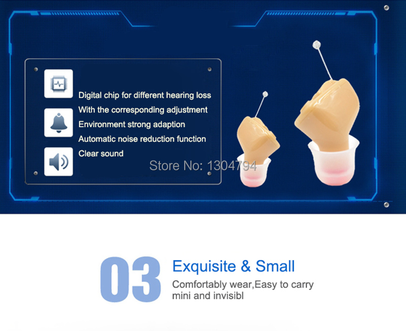 2PCS  x MeloSound CIC Invisible Hearing Aids  invisible Amplifier Hearing Aid Portable Small inner Ear Left ear+right ear-in Ear Care from Beauty & Health    2