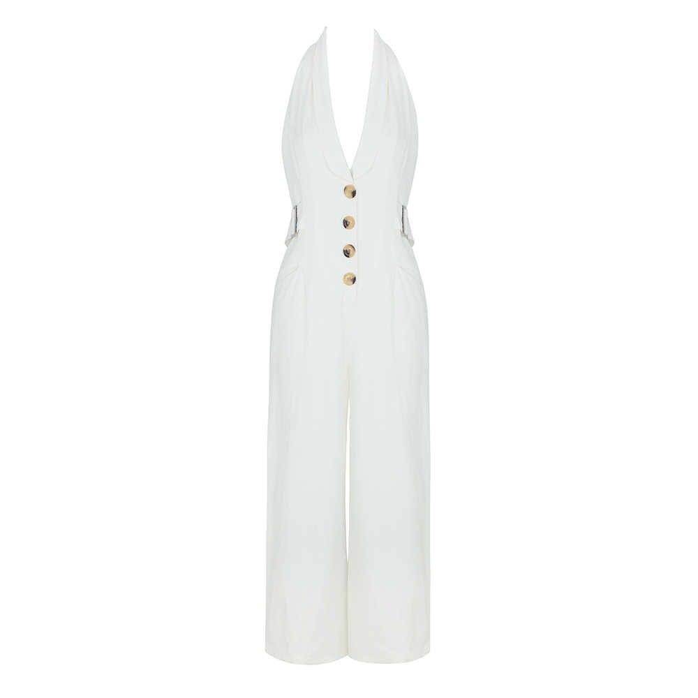 2019 wiosna i lato sexy głębokie V wiszące szyi biały kombinezon sexy moda Celebrity sukienka na imprezę Vestidos Sexy