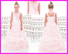 Popular Pink Ball Gown Ruffled Organza Pageant Flower Girl Dresses Straps F010 2018 pink flower girls dresses spaghetti straps ball gown ruffles organza pageant dress for girls long girl dresses for wedding