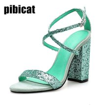 High heels sandals women's shoes light 2019 summer luxury  Sequined Cloth round heels party prom shoes designer peep toe Dress