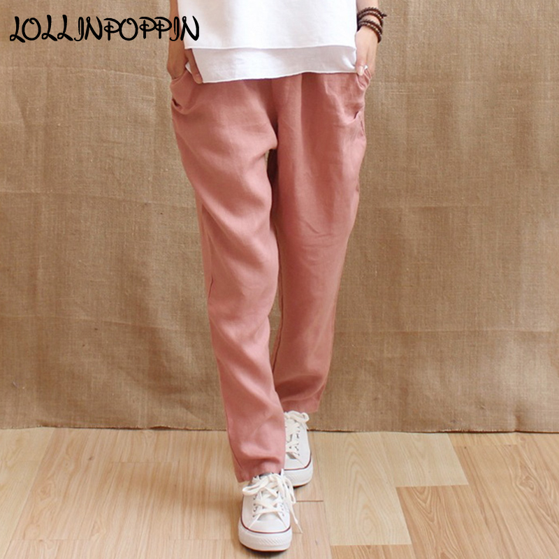 100% Linen Pants Womens Elastic Waist Loose Casual Pants New 2018 Straight Fit Ladies Pure Linen Trousers Solid Color