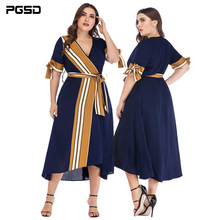 PGSD Summer Office Lady Plus Short-sleeved Sexy Deep V-Neck striped Spliced bowknot Chiffon Dress female Big size Women clothes все цены