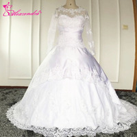 New Sweetheart Trumpet Mermaid Wedding Dresses Chiffon Applique Backless Long Sleeves Bridal Gown Yk1A579