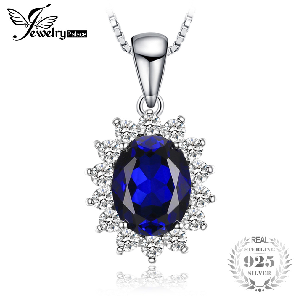 JewelryPalace Oval 3.2ct Princess Diana William Pendant Created Blue Sapphire Pendant 925 Sterling Silver Jewelry for Women