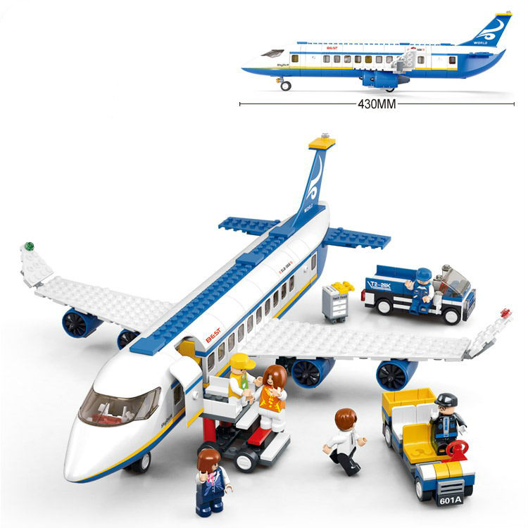 цена на Sluban Air bus Plane aviation Building Blocks Transport enlighten aircraft vehicle Bricks Toys Gift Compatible with Lego