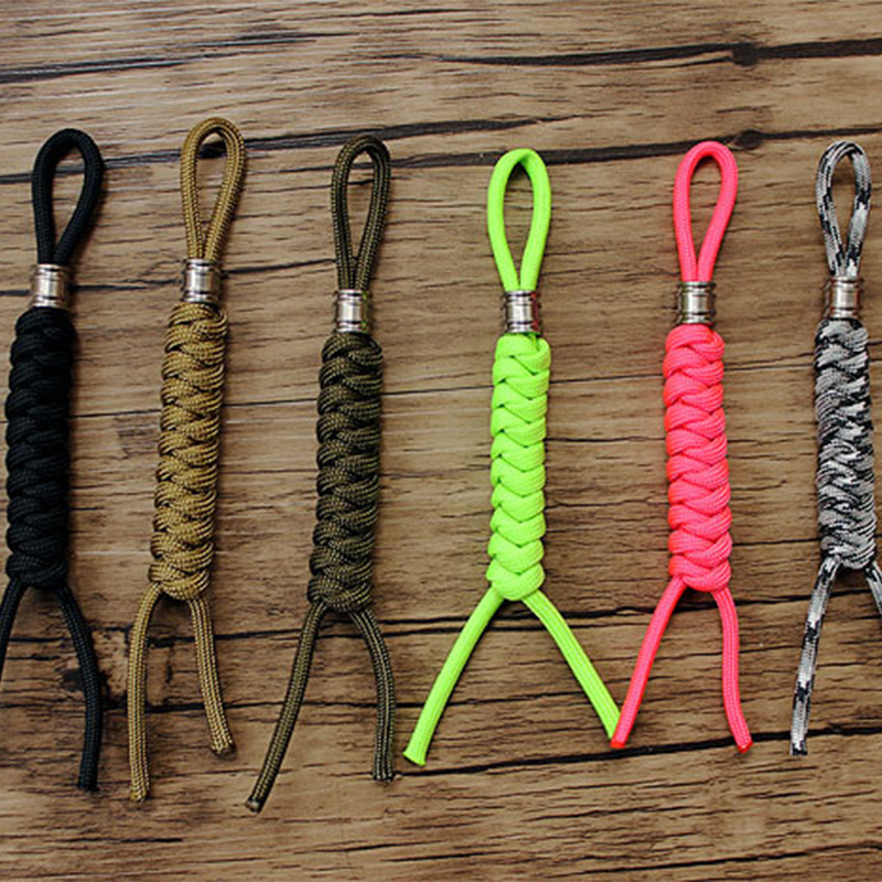 1PC Titanium Paracord Beads Knife Beads With Lanyard Hand-woven Paracord Rope Cord EDC Beads Pendants Outdoor Accessories