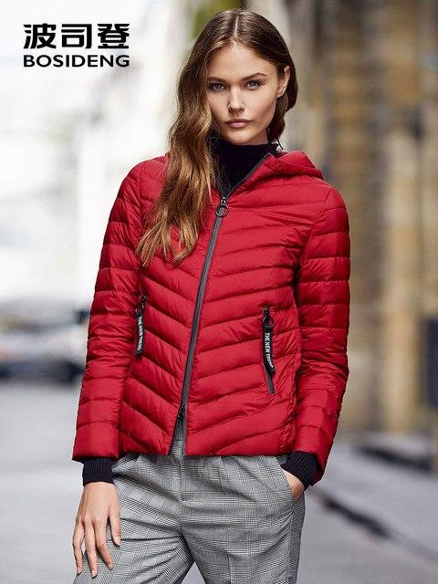 BOSIDENG ранняя зима для женщин пуховик с капюшоном пуховое пальто Тонкий теплый ультра легкий ребра манжеты высокое качество парка верхняя одежда B70131110