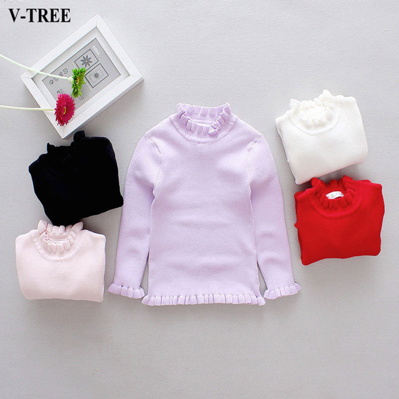 Solid Color Girls Sweater Winter Autumn Children Turtleneck Kids Pullover For Girl Toddler Girl Winter Clothes Baby Jumper sundae angel baby girl sweater kids boy turtleneck sweaters solid winter autumn pullover long sleeve baby girl sweater clothes