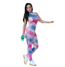 8ebe15d8ffeb Tie Dye Jumpsuits and Rompers Women 2018 Summer Sleeveless Halter Neck Sexy  Backless Bodycon Jumpsuit Overalls Macacao Feminino