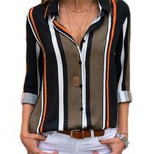 Yfashion Striped Shirt Women Casual Cotton Long Sleeve Blouse for Female