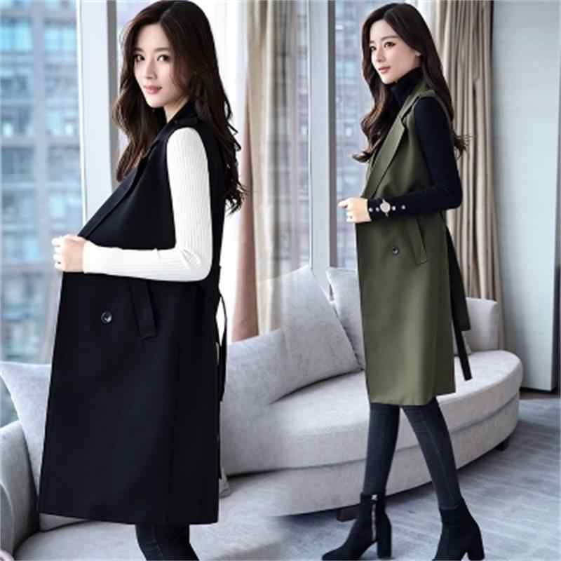 Women Autumn Winter fashion Vest Waistcoat Lady Office Wear Long Waistcoat  Women Coat Casual Sleeveless Vest 3392cbff6