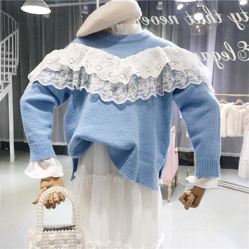 2018 Jumper Volantes Moda Invierno 1709 Encaje Suéteres Coreano Cielo Suéter  Y Otoño Streetwear Mujeres Estilo ... a1ace4fae92b