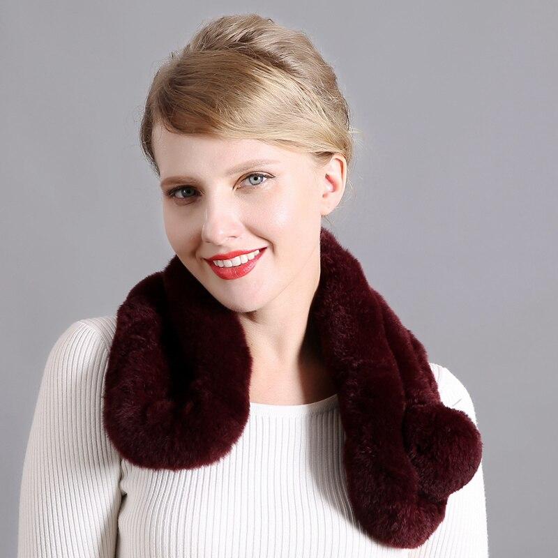 4 для женщин с натуральным кроличьим мехом зимний теплый шарф