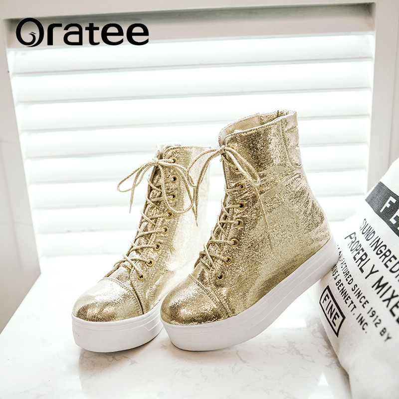 Fashion Shine Ankle Boots Women New Winter Golden Woman Casual Shoes Height Increasing Platform Student Flat