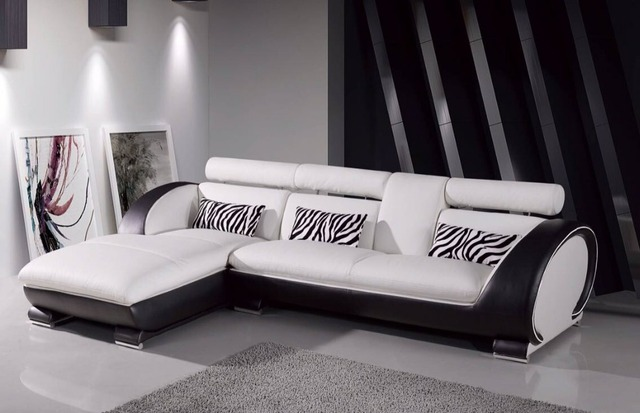 Modern L Shaped White Leather Corner Sofa Set For Living Room
