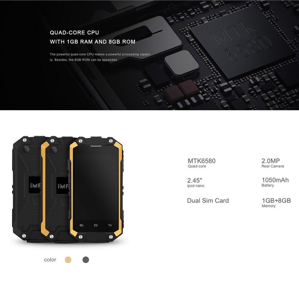 iMAN X2 Triple Proofing Phone Android 5.1 RAM 1GB ROM 8GB MTK6580 Quad Core 1.3GHz Dual SIM 2.45 inch Cell Phones Waterproof OTG