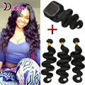 Body Wave Brazilian Virgin Hair 3 Bundles With Closure Queen Hair Product Wavy Human Hair Weave Brazilian Body Wave With Closure