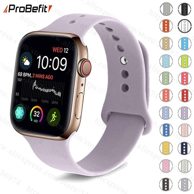 Красочный мягкий силиконовый спортивный ремешок для наручных часов Apple Watch серии 1 2 3 4 38 мм 42 мм резиновый ремешок для смарт-часов 40 мм 44 наручных часов iWatch, Series4