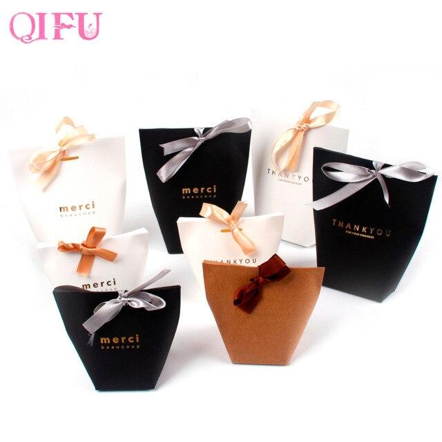 Qifu 5 Sztuk Brązujący Merci Cukierki Torba Francuski Dziękuję