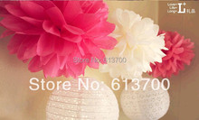 "30Colors Free Shipping 200 pcs 14"" 35cm Tissue Paper Pom Poms Flower Balls for Party Wedding Home Birthday Tea Party Decorations"