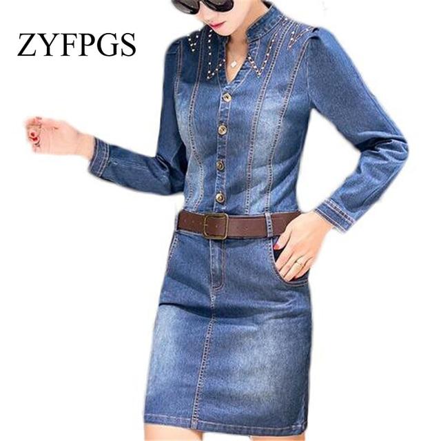 c53336fdd0d6 ZYFPGS Women Dresses 2018 Denim Dress Jeans Plus Size Pencil Dress Vintage  Elegant Casual Office Dresses ZMF748953