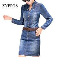 ZYFPGS Women Dresses 2019 Denim Dress Jeans Plus Size Pencil Dress Vintage Elegant Casual Office Dresses ZMF748953