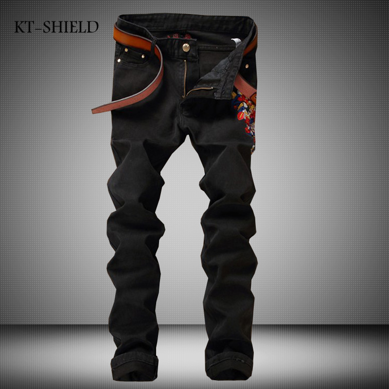Mens Biker Jeans Fashion Plum Flower Embroidered skinny Distressed Vaqueros Hombre Masculina Pantalones Black Jogger Denim Pants biker jeans mens brand black skinny ripped zipper full length pants hip hop cotton denim distressed pantalones vaqueros hombre