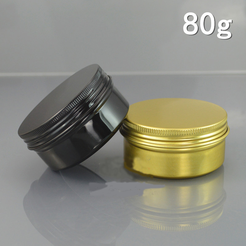 80G 80ML Aluminum Jar Gold Black Metal Cream Pot Cosmetic Hair Care Cream Packaging Container Tin