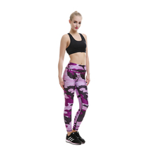 2017 Yoga Leggings Women Yoga Pants High Waist Quick-drying Purple Camouflage Leggings Tracksuit Running Fitness Pants