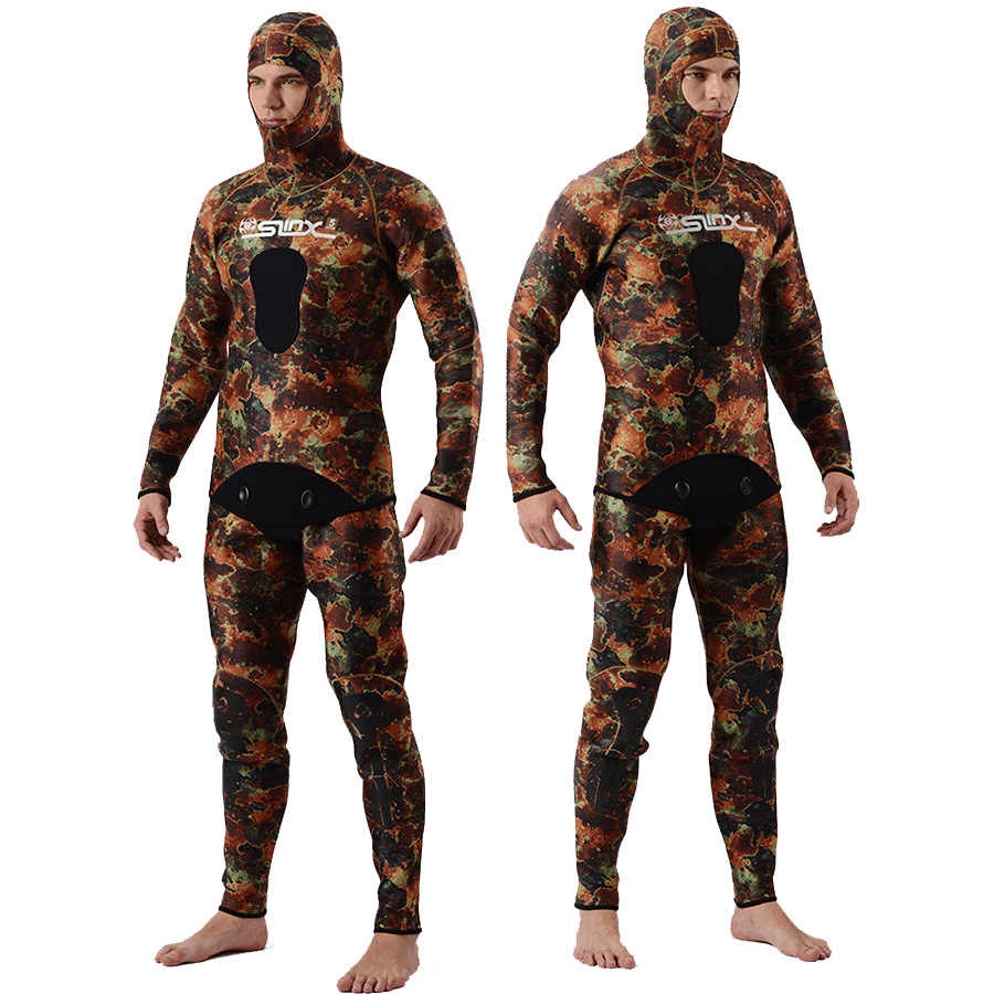 Slinx spearfishing wetsuit 5mm neoprene 2pcs set hooded Camo scuba diving wetsuits hunting suit plus SIZE xxxL