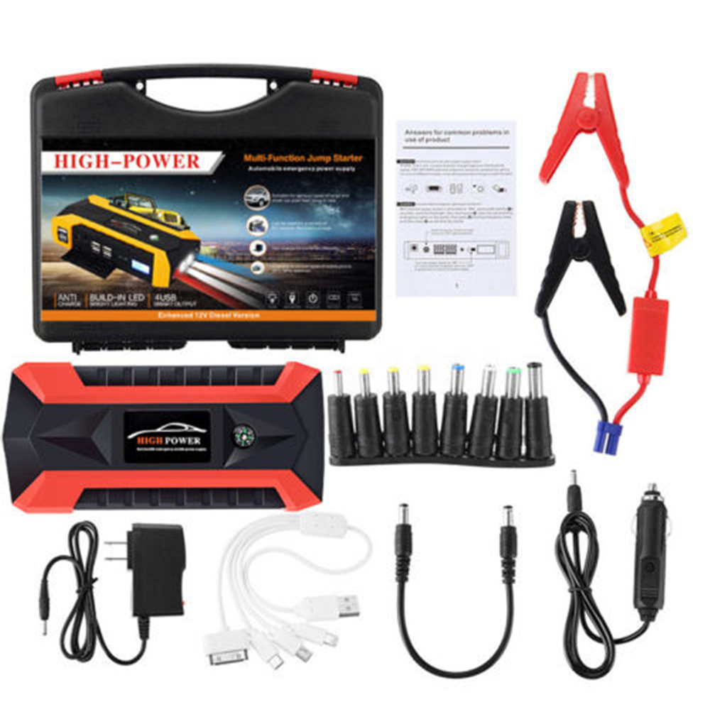 Booster Starter-Pack Battery-Power-Bank Usb-Charger Jump 89800mah-Car New 4 LCD  title=