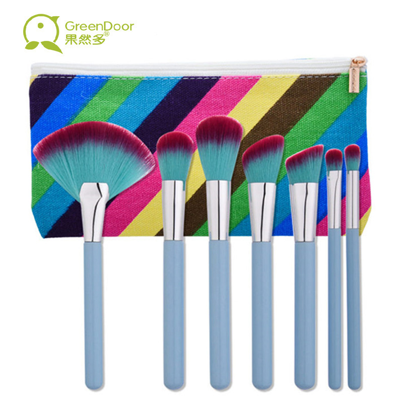 GreenDoor Makeup Brush Set 7 pcs Makeup Brushes for Eye Face Blush Powder Fan Brush Makeup Soft Hair Make Up Brush With Bag 12pcs professional soft cosmetic face brush finishing powder blush brush sets for women with red cloth bag
