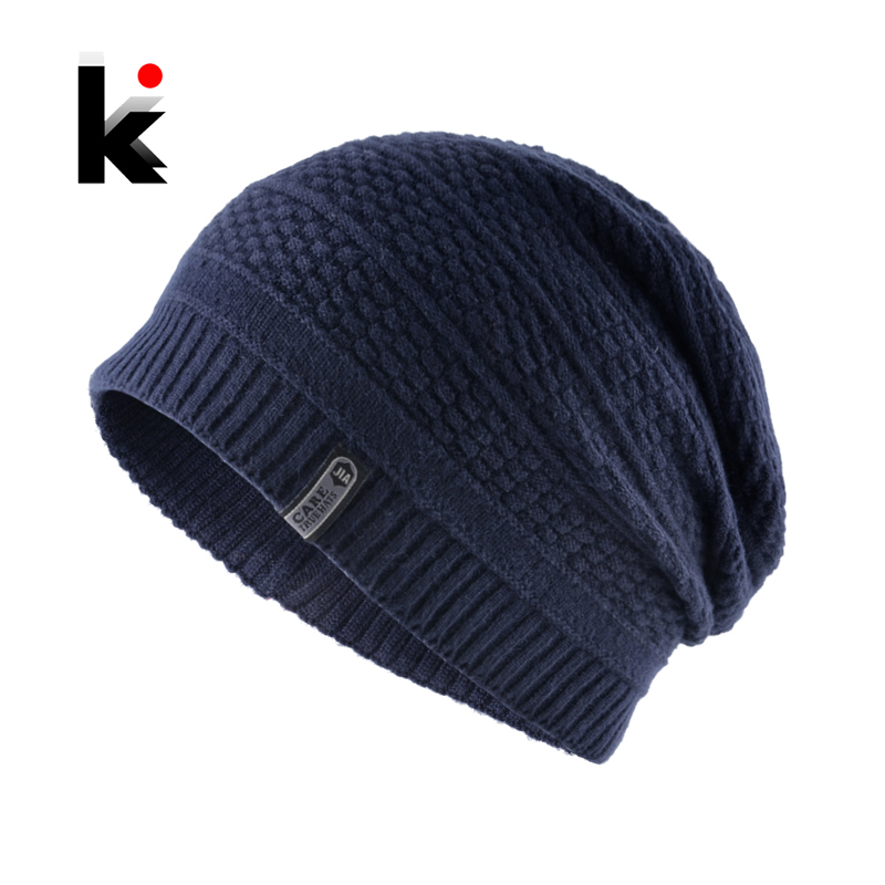 Winter Hats Men's   SKullies     Beanies   Solid Color Knitted Caps Men Hip Hop   Beanie   Fashion Knitting Wool Bonnets Warm Gorras Hat