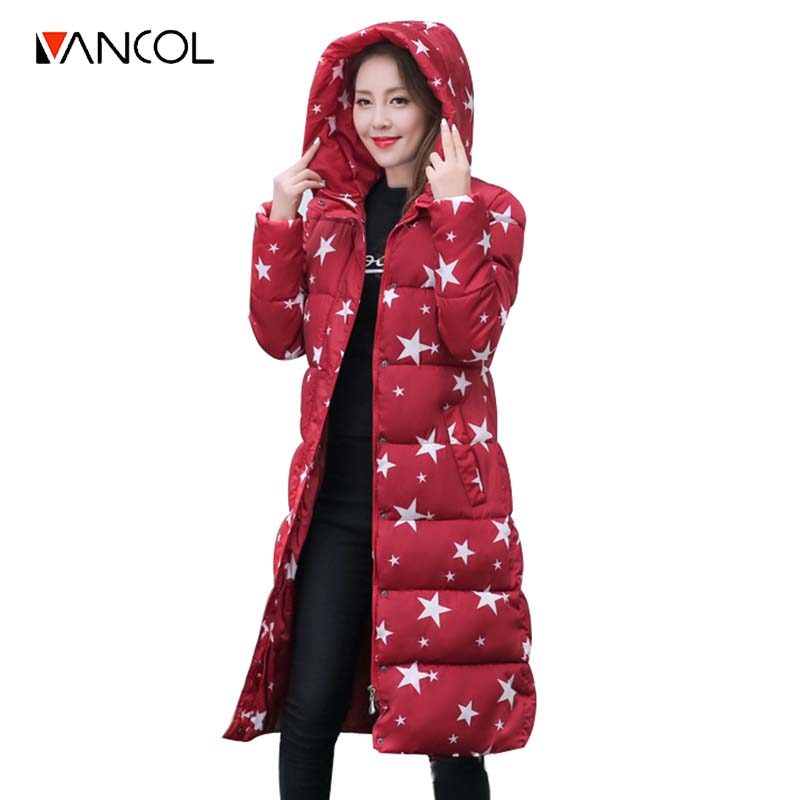 ФОТО Brand Designer Printed Star Women Coat Padded Warm Camouflage Thicken Hooded Down Parkas Wadded Long Jacket Women Winter Parka