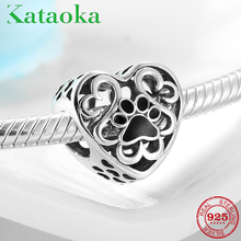 Dog paw print Animal Charm heart Beads 925 Silver Charms for Women Jewelry Making Fit Original Pandora charms beads Bracelet blinghero cartoon thermal patches cute iron on patch stickers t shirt jacket heat transfer patches diy pacth bh0350
